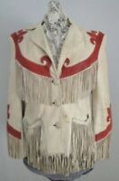 Womens Suede Leather Cream Fringe Native American Western Style Cowboy Jacket