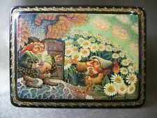 Russian traditional box, lacquer miniature Mstera. Gnome, guest. Molodkin