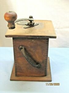 Primitive  Coffee Grinder Cast Iron and Wood w/ Hand Crank Dovetail