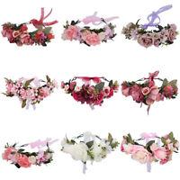 Adjustable Women's Flower Crown Headband Hairband Hair Wreath Garland Wedding