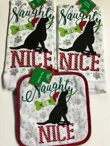 3 pc kitchen towel pot holder set Naughty or Nice Christmas puppy dog NEW