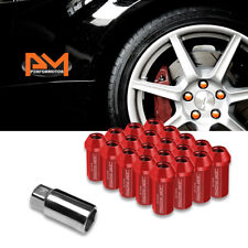 M12X1.5 Red JDM Closed End Aluminum Hex Wheel Lug Nuts+Extension 25mmx50mm 20Pc