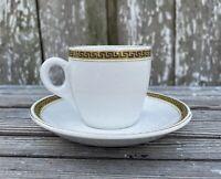 Antique Sampson Bridgwood Ironstone England Greek Key 683 Demitasse Cup & Saucer