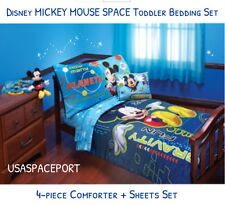 4pc Disney Mickey Mouse Space Toddler Bed-in-a-Bag Comforter+Sheet Crib Set Boys