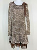 Altar'd state women's size large tunic top dress Brown White ruffle boho hippie