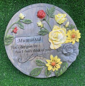 Memorial flower plaque for MUM & DAD Grave cemetery memorial ornament