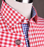 Large Red Gingham Check Formal Business Dress Shirt Blue Easy Iron Wrinkle Free