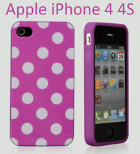 TPU gel silicone case cover Polka purple for Apple iPhone 4S / iPhone 4