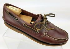 Timberland Mens Boat Shoes 2 Eye Brown Leather Slip On Loafer Deck Shoe Sz 8