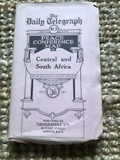 Rare 1919 Peace Conference Linen Map Central and South Africa Geographia WWI