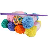 Craft Knitting Starter Kit 5mm Needles Colour 7 Balls of Wool Hobby Yarn Set 20g