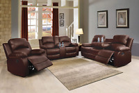 NEW Brown Leather 3PC Sofa Loveseat Chair 5-Recliner Set 4 Cupholders 2 Console