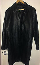 Matinee Mens Real Leather Mid 3/4 Length Smart Casual Button Black Jacket *Small