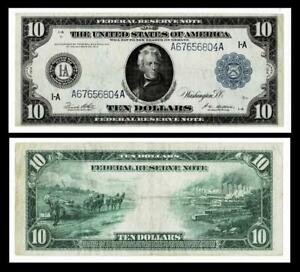 1914 $10  Federal Reserve Large Size Note ~BOSTON,MA~  VERY FINE