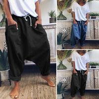 Womens High Waist Wide Leg Cargo Harem Pants Casual Solid Long Palazzo Trousers