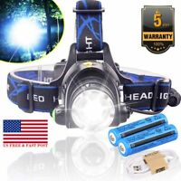 350000LM Zoomable Rechargeable Headlight Tactical LED Headlamp + Power Batteries