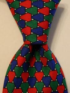 TURNBULL & ASSER Men's 100% Silk Necktie ENGLAND Luxury Geometric Blue/Red GUC