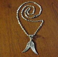 collier chaine argenté 46,5 cm avec pendentif 2 ailes d'ange 30x10 mm