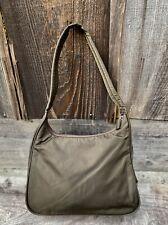 PRADA Tessuto Sport NYLON ZIP Top Olive BROWN Leather Shoulder Bag #31 *RARE*