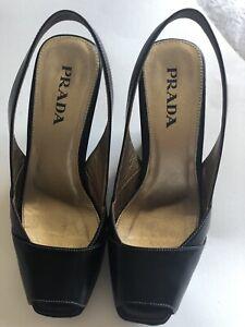 Black Prada Wedge Slingback Size 5.5