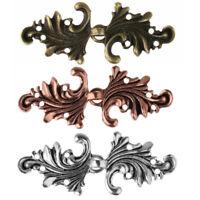 5 Pairs Leaf Cape Cloak Clasp Fasteners Hooks&Eyes Filigree Cardigan Clip Button