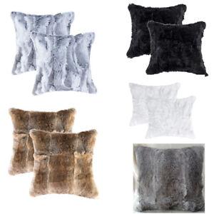 2PCS Natural Real Rabbit Fur Pillowcase Cushion Cover Throw Striped Grey Brown