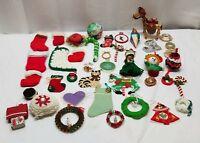 Vintage Christmas Tree Ornaments Decoration Lot Folk Art Craft Wreath Candy Cane