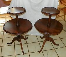 Pair of Solid Walnut 2 Tier Dumbwaiter Parlor Tables  (T367)