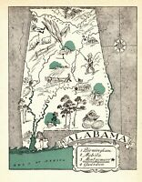 1930s Antique ALABAMA State Map RARE Animated Picture Map of Alabama BLU 7206