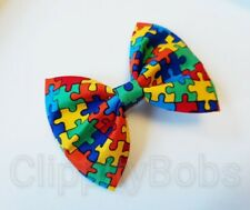 "LARGE HANDMADE 4"" MULTI COLOURED JIGSAW AUTISM FABRIC BOW HAIR CLIP OR BOBBLE"