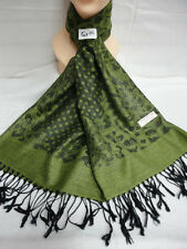 LEOPARD BUBBLE PASHMINA SCARF SHAWL WRAP ALL SEASON REVERSIBLE WEAR GREEN