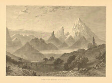 Watzmann, Germany, Mountain Landscape. Vintage 1874 Antique Art, Print.