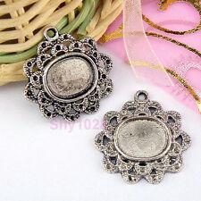 4Pcs Tibetan Silver Oval Picture Frame Settings Pendants 23.5mm LA268
