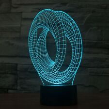 3D Lamp Corkscrew Optical Illusion Led Night Light 7 Colors Touch Switch