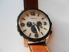 Fossil Chronograph men's brown leather quartz,battery & Analog watch.Jr-1390