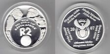 SOUTH AFRICA - SILVER PROOF 2 RAND COIN 2007 YEAR KM#377 ANIMALS FOOTBALL 2010