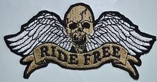 Embroidered Ride Free Winged Skull Sew or Iron on Patch Biker Jacket rock metal