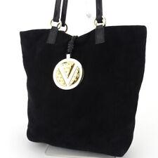 VALENTINO GARAVANI tote bag V mark plate nubuck leather �~ Auth used T17389