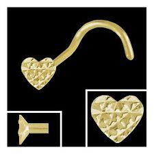 Gold 750 piercing, corazón 2,8 mm diamantado nasenstecker espiral nariz