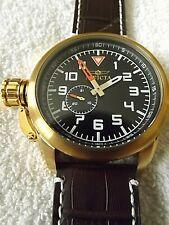 Invicta Aviator 20462 Black Dial, Goldtone Case, Dk Brown Band Watch
