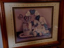 Home Interior by Pat Pearson Vintage cloth rabbit doll, hearts & jug w