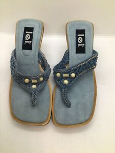 L.E.I. Vintage Retro 90s Chunky Heel Thong Sandals Blue Crochet Bead Boho Size 8
