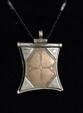 Vintage North African Tuareg Tcherot Talisman Pendant Silver And Brass Necklace