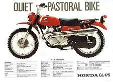 1970 HONDA GL175 Pastoral 2 page Motorcycle Brochure NCS