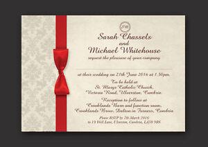 Personalised Wedding Invitations Day Evening Red Ivory Damask  O