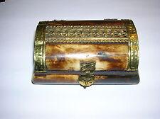 Wood and Yak Bone Box with Brass Design
