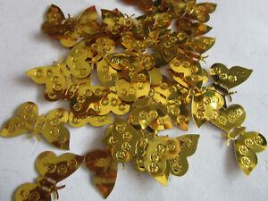 500/50 Applikation Aufnäher Gold 3,5cm Pailletten Schmetterlinge Borte Nähen 017