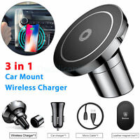 Baseus Car Mount Qi Wireless Charger Fast Magnetic Holder new 2 in 1 air vent