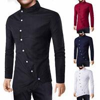 Men Casual Dress Shirt Slim Fit Long Sleeve Button Down Irregular Formal T-shirt