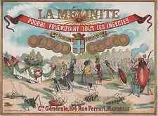 """""""POUDRE LA MELINITE Cie Générale MARSEILLE"""" Etiquette-chromo originale fin 1800"""